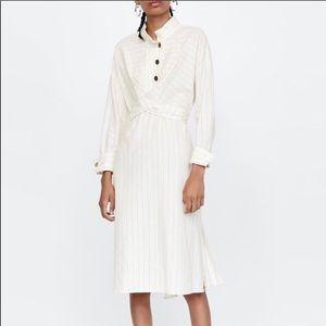 Zara Basic White Stripe Midi Dress Size L